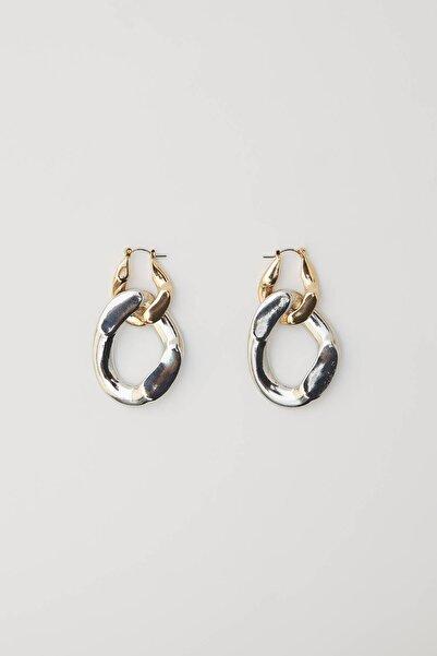 Pull & Bear Kadın Gümüş Çift Halkalı Küpe 09996377