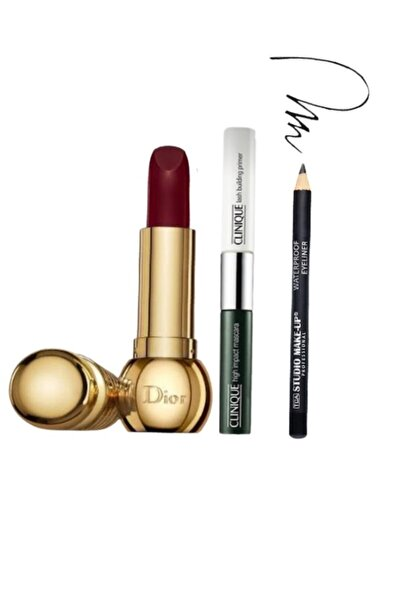 Clinique High Impact Çift Taraflı Maskara & Primer 2 Ml + Dior Mat 590 Troublante Ruj + Tca Make Up Eyeliner