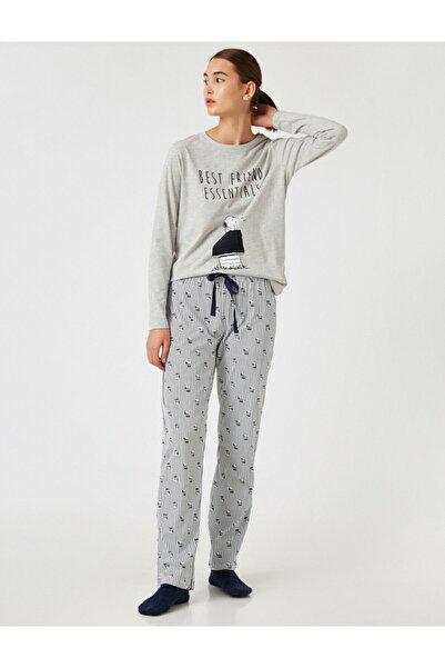 Koton Kadın Snoopy Lisanslı Pijama Takımı