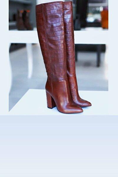 trendyes Kadın Bordo Deri Krokodil Desenli Dizaltı Çizme