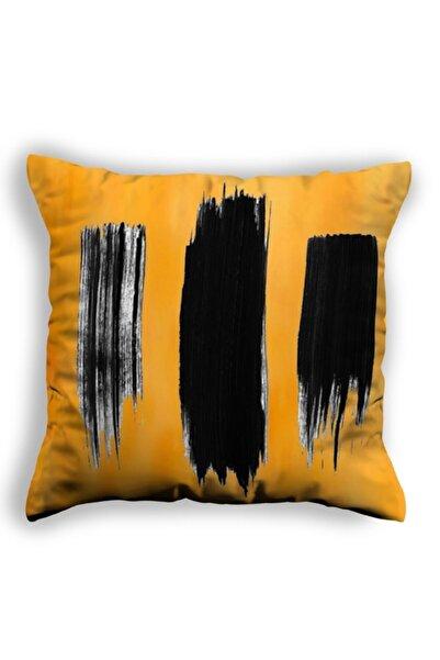 Stratum Fırça Efekti Hardal Sarısı Dekoratif Yastık Kırlent Kılıfları