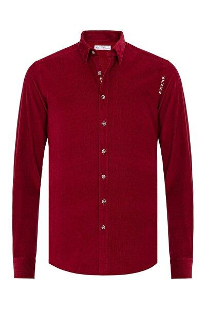 Paşahan Erkek Kırmızı Kadife Slim Fit Gömlek