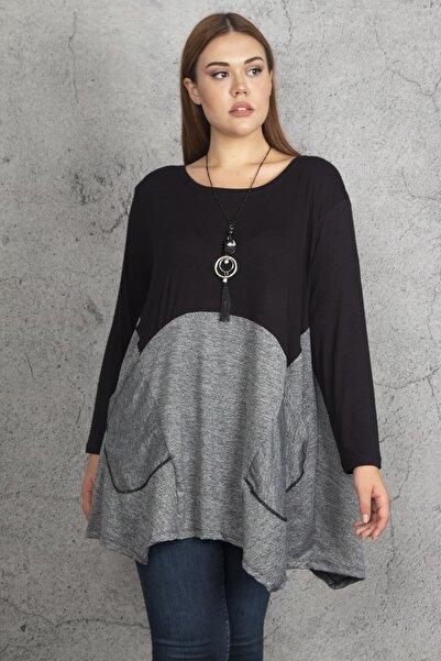 Şans Kadın Siyah İki Renkli Cep Detaylı Tunik 65N19685