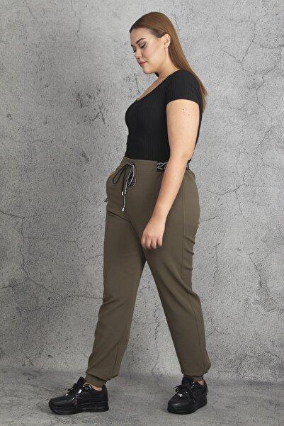 Şans Kadın Haki Beli Ve Paçaları Lastik Detaylı Fermuar Cepli Kalın Kırçıllı Kumaş Pantolon 65N19881