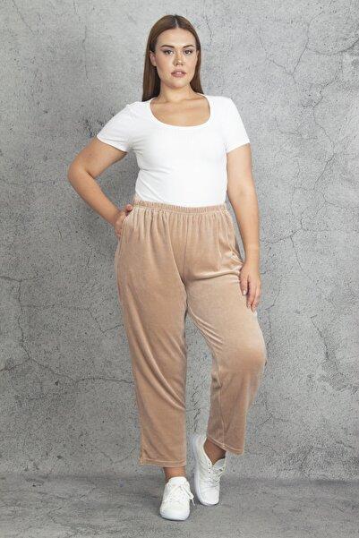 Şans Kadın Vizon Kadife Kumaş Bel Kısmı Lastikli Spor Pantolon 65N19870