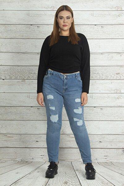 Şans Kadın Mavi Yırtık Detaylı Kot Pantolon 65N19864