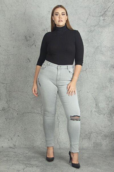 Şans Kadın Gri Likralı Kot Yırtık Detaylı 5 Cepli Skınny Pantolon 65N19852