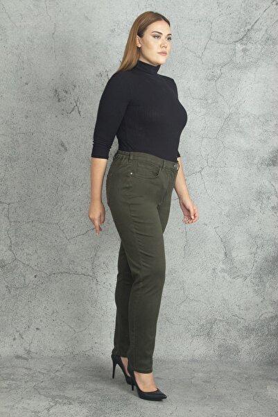 Şans Kadın Haki Bel Kısmı Yan Lastikli 5 Cepli Pantolon 65N19851