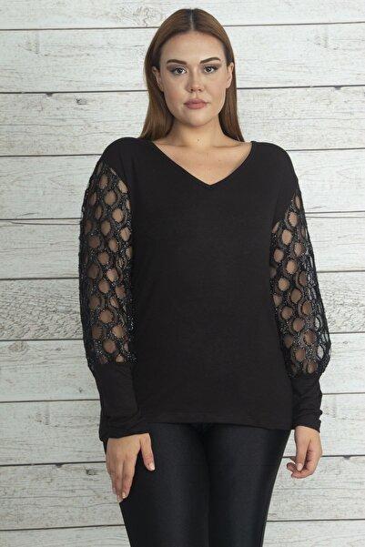 Şans Kadın Siyah Kol Detaylı Bluz 65N19735