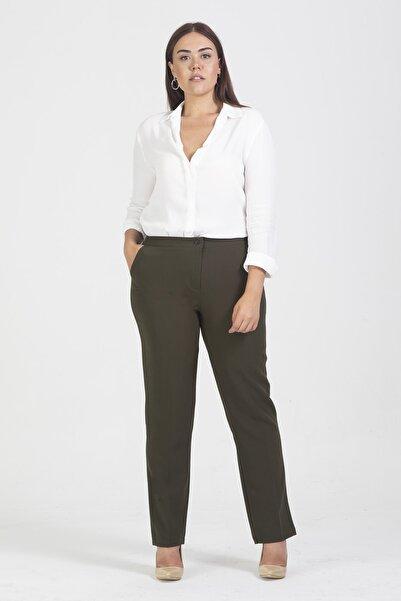 Şans Kadın Haki Cepli Klasik Pantolon 65N19473