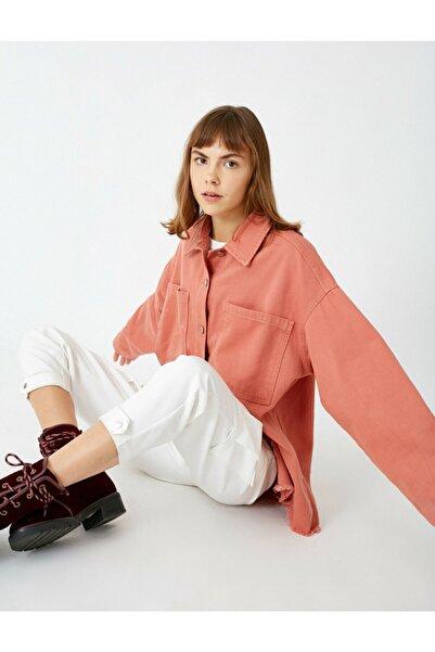 Koton Kadın Kırmızı Pamuklu Cepli Kot Blazer Ceket