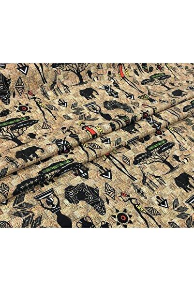 Otto Hasır Zemin Afrika Desenli Kumaş
