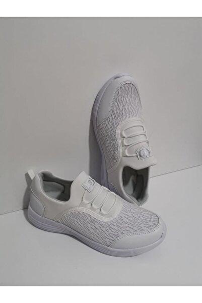 GEZER Ortopedik Aqua Ipli Lastikli Günlük Kadın Spor Ayakkabı Sneaker Fileli Beyaz 108