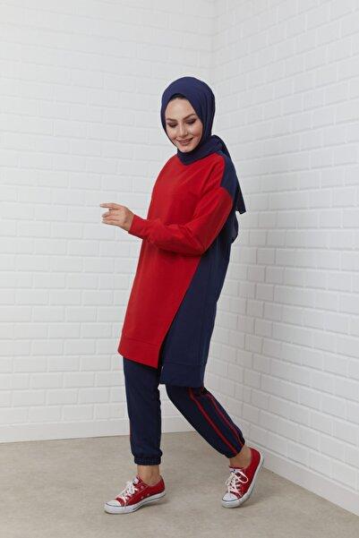THE RAREBELL Kadın Kırmızı Garnili Yırtmaç Detaylı Lacivert Eşofman Takım