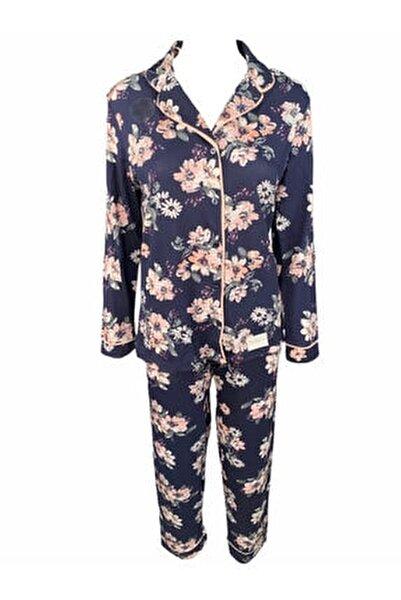 Kadın Mavi Pamuklu Pijama Takımı