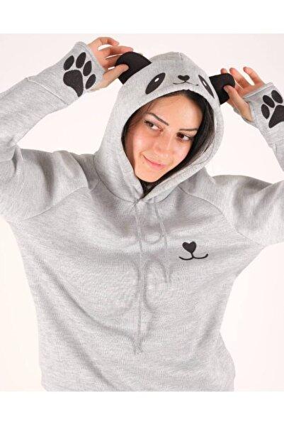 TREND Kadın Gri Panda Sweatshirt