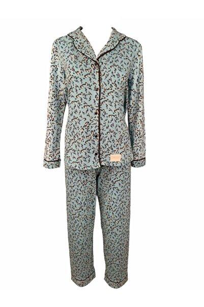 Koza Kadın Turkuaz Renk Üzeri Leopar Desenli Pamuklu Pijama Takımı