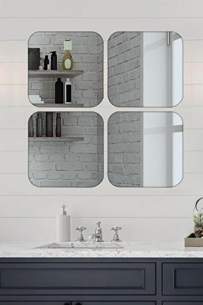 LYN HOME & DECOR 4 Lü Köşeleri Yuvarlak Kare Füme Ayna 36x36 Cm