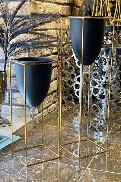Tasarım Evi 2'li Metal Ayaklı Saksı Çiçeklik