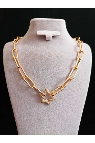 tubaless Zirkon Taşlı Yıldız Model Şık Kolye