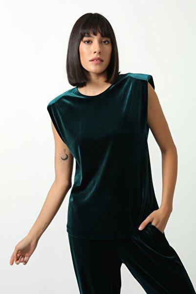 Gusto Kadın Yeşil Kadife Bluz 21KG002549