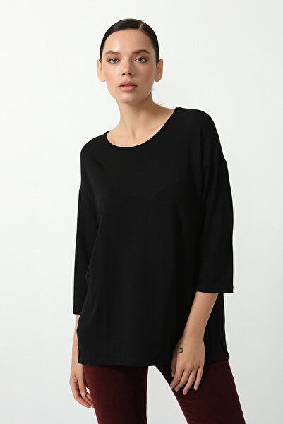 Gusto Kadın Siyah Truvakar Kol Viskon Bluz 21KG002546