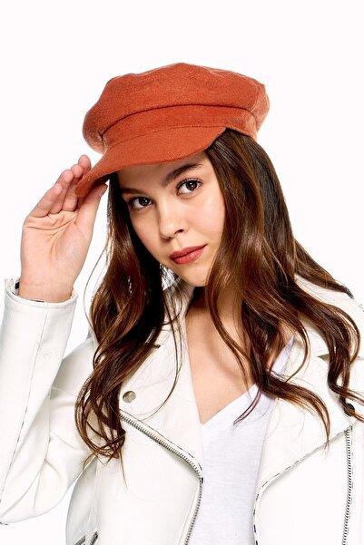 Y-London Kadın Kiremit Siperli Kaşe Şapka 12848