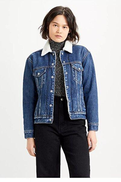Levi's Kadın Mavi Pamuklu Relaxed Fit Kot Ceket