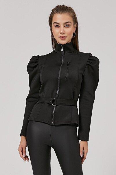 Y-London Kadın Siyah Kolu Büzgülü Dalgıç Kumaş Fermuarlı Bluz Y20W185-1315