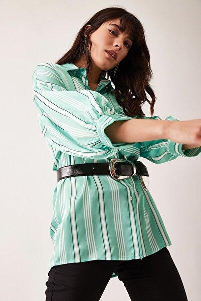Lafaba Kadın Mint Yeşili Düşük Kollu Çizgili Gömlek