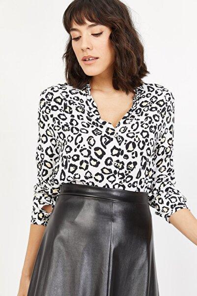 Lafaba Kadın Beyaz Leopar Desenli Gömlek