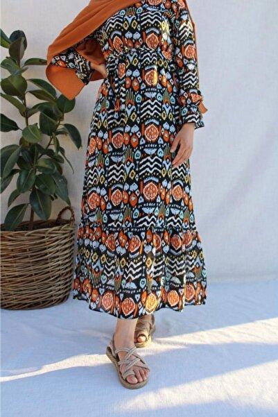 Hatiç Store Kadın Rengarenk Astarlı Şifon Kumaş Tesettür Elbise