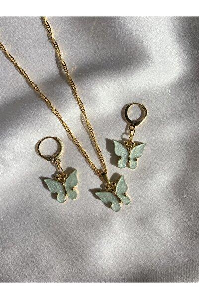 Harlofia Jewelry Yeşil Kelebek Kolye Küpe Seti