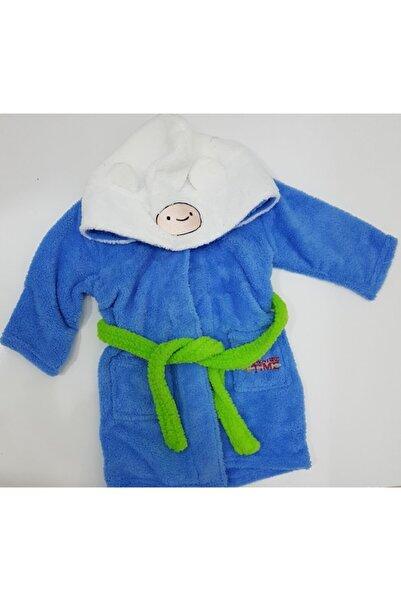 Micro Erkek Çocuk Mavi Kapüşonlu Bornoz