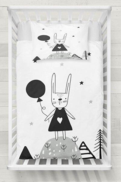 Else Halı Siyah Beyaz Sevimli Tavşan 3d Desenli Bebek Nevresim Takımı