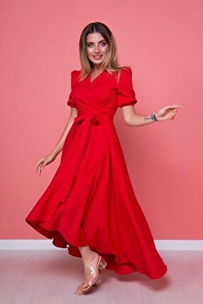 Kadın Kırmızı Büyük Beden Asimetrik Kesim Elbise