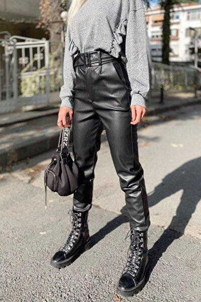 SwistLuxury Kadın Siyah Yüksek Bel Kemerli Suni Deri Pantolon
