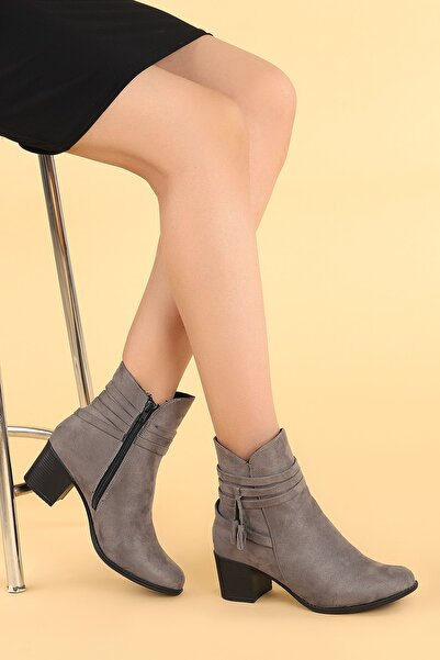 Ayakland Kadın Gri Topuk Termo Taban Bot Ayakkabı