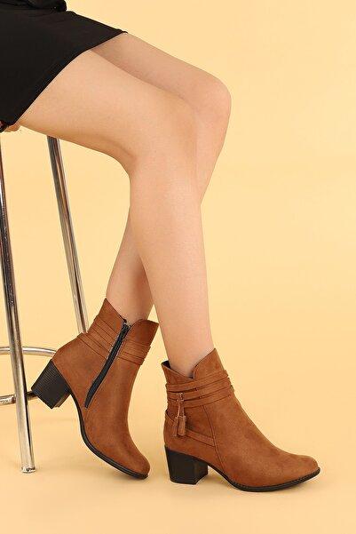 Ayakland Kadın Kahverengi Topuk Termo Taban Bot Ayakkabı