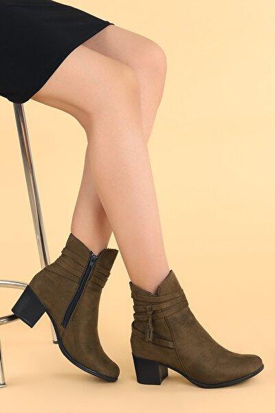 Ayakland Kadın Haki Topuk Termo Taban Bot Ayakkabı