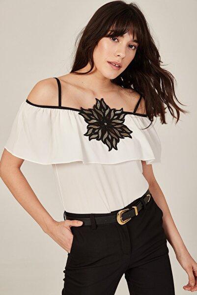 Lafaba Kadın Beyaz Aplikeli Askılı Bluz