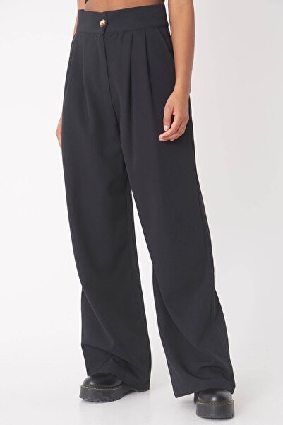 Addax Kadın Siyah Bol Paça Pantolon Pn12179 - J10 Adx-0000023342