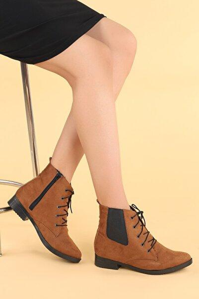 Ayakland Kadın Kahverengi Süet Bağcıklı Termo Taban Bot Ayakkabı 387-01