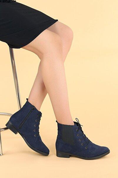Ayakland Kadın Lacivert Süet Bağcıklı Termo Taban Bot Ayakkabı 387-01