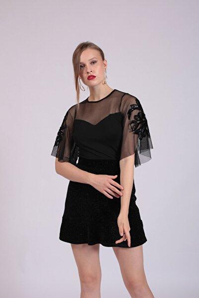 Hanna's by Hanna Darsa Kadın Siyah Tül Garnili Kolları İşlemeli Bluz  HN2744