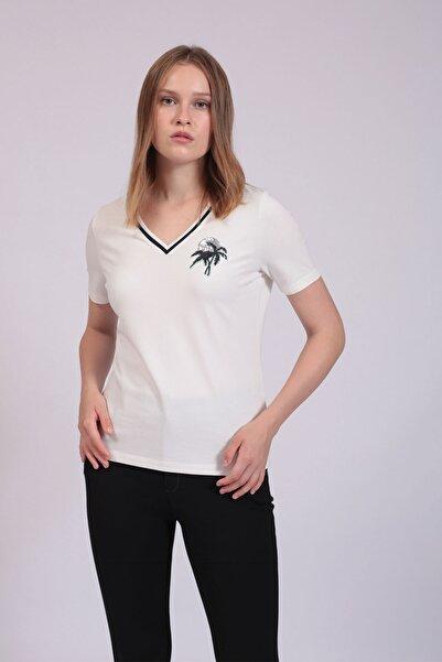 Hanna's by Hanna Darsa Kadın Beyaz Palmiye Nakışlı Bluz HN2740