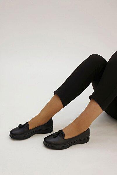 Marjin Sore Kadın Hakiki Deri Günlük Comfort Ayakkabısiyah