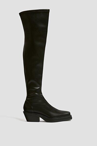 Pull & Bear Kadın Siyah Kare Burunlu Streç Çizme 11049640