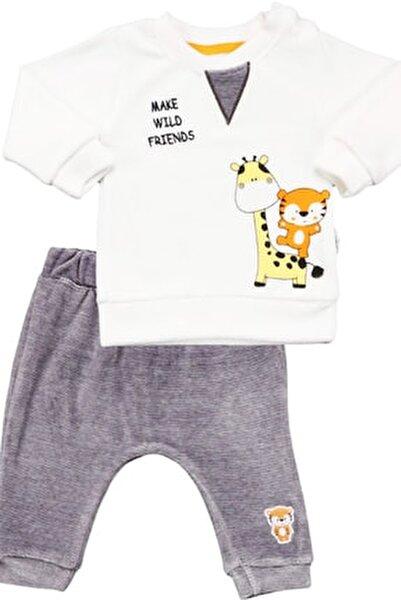 Erkek Bebek Ekru 2'li Kadife Takım