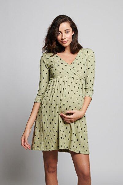LYN MAMA Kadın Yeşil Kalp Desenli Hamile Gecelik